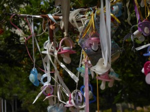 The Pacifier Tree outside the Kiryat-Ono Public Library