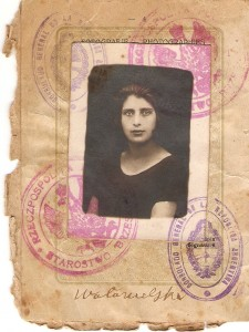 The passport photo of Beileh, one of Dora's half sisters who immigrated in 1927. Do you think they had the same eyes?
